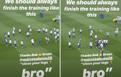 Chelsea fans 'done with Marcos Alonso' after he is nutmegged by Rob Green in training drill