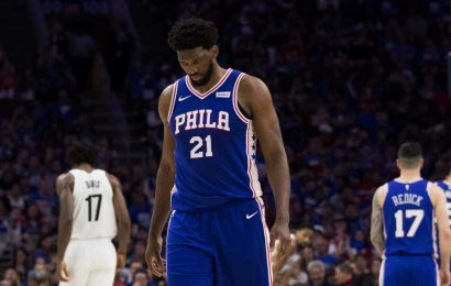 Cameras catch Joel Embiid looking at cell phone on bench during 76ers' Game 1 loss