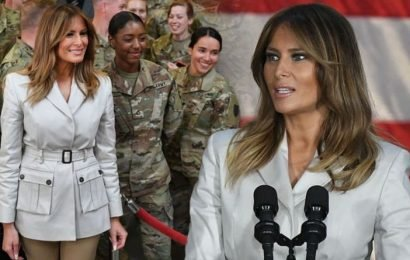 Melania Trump wears £630 military jacket as she praises soldiers: 'A national treasure'