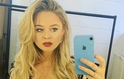 Emily Atack flaunts jaw-dropping cleavage as plunging top gapes open