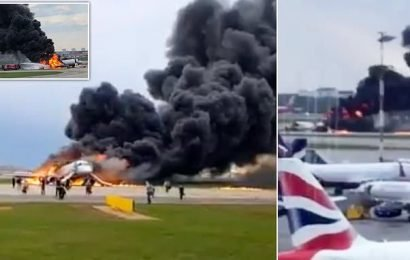 Passenger jet lands in flames in Moscow airport as passengers flee