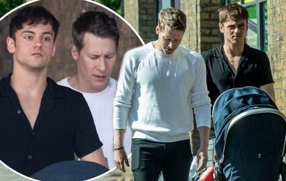 Tom Daley, Dustin Lance Black and son Robbie step out after buggy row