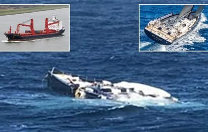 $40million luxury yacht is lost at sea after falling off a cargo ship