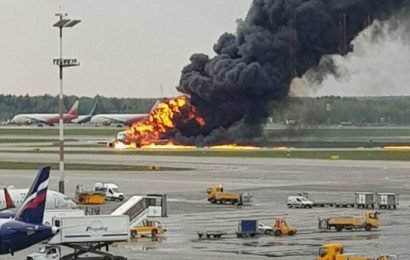 Aeroflot plane bursts into flames during emergency landing in Moscow