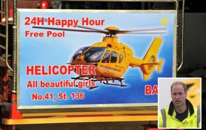 Prince William's old air ambulance is being used to advertise a ladyboys' hangout in Cambodia