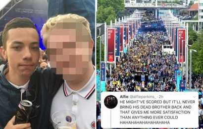 Football fan who mocked Aston Villa star Jack Grealish's dead brother seriously ill after suffering head injuries in fall at FA Cup Final