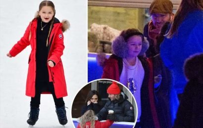 Victoria Beckham wants Harper, 7, to be an ice skater and has branded her 'a natural' after forking out on posh skates and outfits