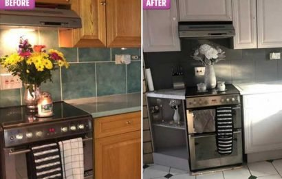 Dad transforms his kitchen for just £50 using B&Q tile paint and marble-effect worktop stickers