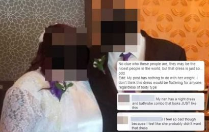 Plus-size bride divides opinion for choosing a modest wedding dress which critics say looks like she's wearing 'a nans nightie'