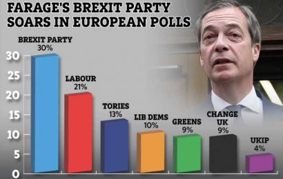 Nigel Farage says he's too busy to become an MP in Peterborough by-election – as new poll shows his Brexit Party is twice as popular as Tories