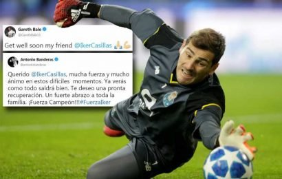 Iker Casillas receives prayers from Bale, Nadal and Antonio Banderas after Real Madrid and Spain legend, 37, suffers heart attack