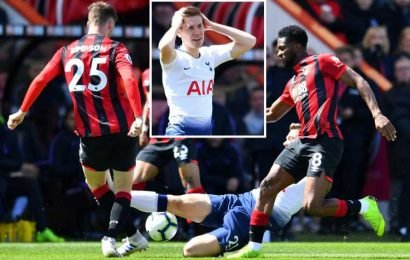 Foyth shown straight red for horror challenge just TWO minutes after coming on for Spurs at Bournemouth
