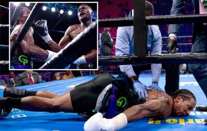 Boxing ace Mark Duncan rushed to hospital after brutal KO 'left him having seizure twitching on canvas before being stretchered out'