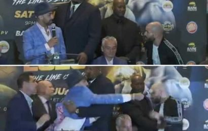 Watch incredible moment Paulie Malignaggi smashes microphone over rival Artem Lobov's head in heated press conference bust-up ahead of Bare Knuckle fight