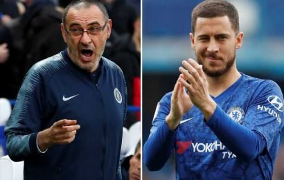 Sarri hints Hazard's head has gone amid Real Madrid transfer interest with Belgian a doubt for Chelsea's Prem finale