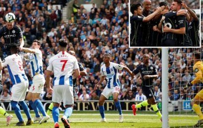 Brighton 1-4 Man City LIVE SCORE: City win the title by one point ahead of Liverpool in thrilling race – latest commentary and updates