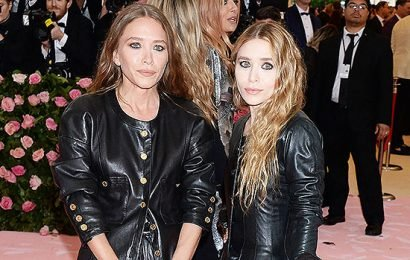 Mary-Kate & Ashley Olsen Match In Black Leather & Beachy Waves At Met Gala 2019