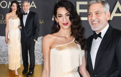 Amal Clooney: George Clooney's wife exudes old school glamour in golden gown on night out