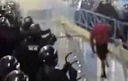 Moment 20-stone prisoner went on rampage that took 100 riot officers to stop