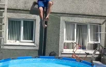 Window cleaner, 40, leaps into a paddling pool to win a £50 bet