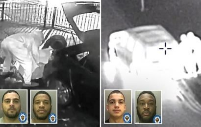 Moment robbers who broke into 20 shops with stolen cars are caught