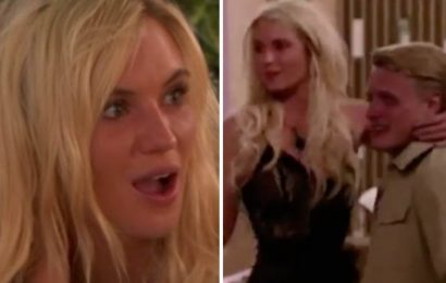 Love Island's Lucie gives new lad George a lap dance during racy task
