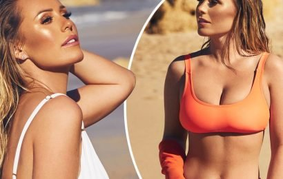 Kate Wright sizzles in orange bikini as she models swimwear from her new collection