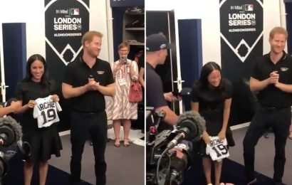 Prince Harry and Meghan Markle Receive an Itty-Bitty Baseball Jersey For Archie at an MLB Game