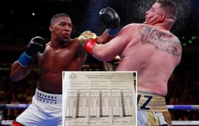Anthony Joshua incredibly UP on shock judge's scorecard despite being knocked down FOUR times in stunning loss to Andy Ruiz