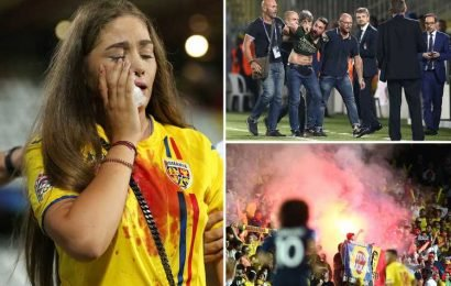 Girlfriend of Romanian star Cristian Manea left crying and covered in blood as crowd violence ruins U21 Euros clash between France and Romania