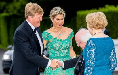 Dutch Queen Máxima dons historic emerald tiara for state dinner at Áras an Uachtaráin
