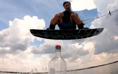 Bottle Cap Challenge sees wakeboarder nail it with a 360 mid-air spin