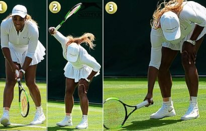 Serena smashed her racket into Court 15 turf four times leaving divots