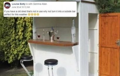Wine lover transforms her knackered old shed into a trendy drinks bar – and it's perfect for summer