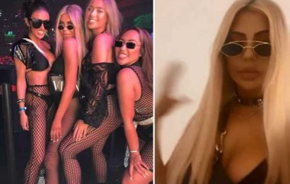 Chloe Ferry wears sexy bondage-inspired outfit for night out in Ibiza