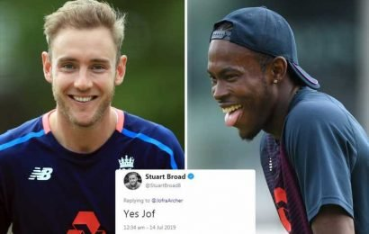 Stuart Broad hilariously replies to Jofra Archer's four-year old tweet ahead of Cricket World Cup final – The Sun