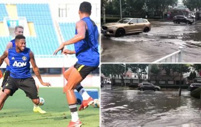 Man Utd training centre flooded as preparation for Spurs clash hit by torrential rain – The Sun