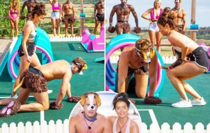 Love Island's Curtis is forced to dress as a DOG and dragged around on a lead by Maura in raunchy new villa challenge
