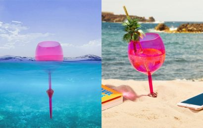 This $9 Wine Glass Floats In The Pool & Stands Upright In The Sand