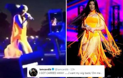 Cardi B rips off her wig and throws it into the crowd at Wireless before pleading for its return on Twitter