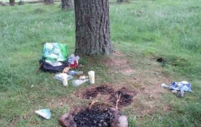 Queen's Balmoral estate trashed by litter louts who dump piles of plastic waste