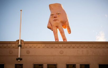 Giant hand sculpture terrifies locals and is described as a nightmare