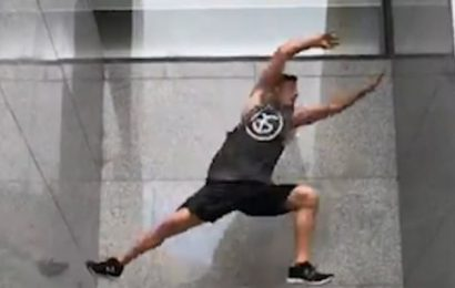 Parkour star defies gravity to bounce UP walls like a video game