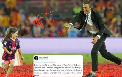 Sport world unites around Luis Enrique as Rafa Nadal leads condolences after tragic death of ex Barcelona manager's nine-year-old daughter