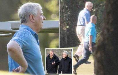 Prince Andrew pictured playing round of golf at luxury Spanish club as he escapes storm over paedo pal Jeffrey Epstein