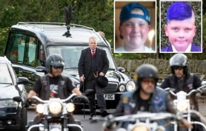 Supercars and 300 bikers lead funeral procession of brothers 13 and 14 found dead at home