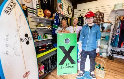 Ed Sheeran has donated 300 items to a charity shop in his home town of Framlingham including guitars and a signed surf board
