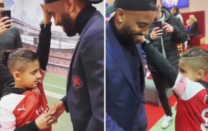 Watch amazing moment blind boy, 9, feels Lacazette's face as he meets his Arsenal hero and then calls him 'class' – The Sun