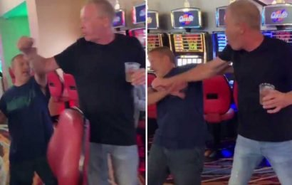 Angry short man is filmed kicking shins in casino row just weeks after bagel shop fight went viral