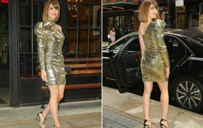 Alison Brie channels her 'Glow' character in '80s-inspired gold dress